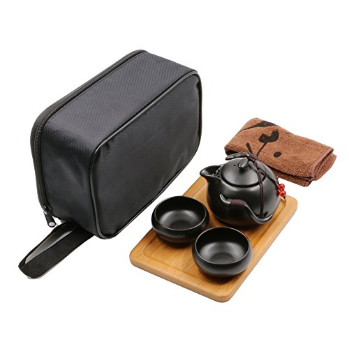 Set da tè portatile da viaggio, stile cinese/giapponese, in ceramica fatto a mano con teiera, 2tazze da tè, vassoio in bambù e marsupio Teapot - 180ml, Teacup - 50ml Black
