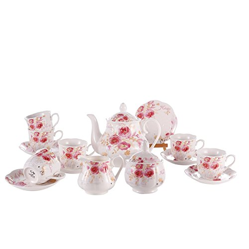 GuangYang Juego de Té de Café Porcelana Inglesa - 15 Piezas Conjunto de Mesa de Patrón Rosa Juego de 6 Tazas y Tazas de Café Tetera para Té de La Tarde