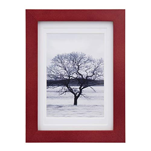 Egofine 5x7 Picture Frames for Picture 4x6 with Mat or 5x7 whitout Mat Made of Solid Wood with HD Plexiglass for Table Top Display and Wall Mounting Photo Frame, Dark Red