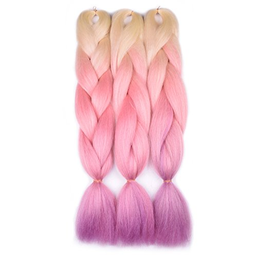 Jumbo Braiding Hair Ombre (Blonde/Pink/Purple)3pcs Ombre Synthetic Jumbo Braid Hair Extension For Braiding Twist 24 Inch 100G