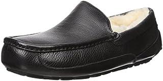 UGG Men's Ascot Slipper, Black Leather, 11 M US