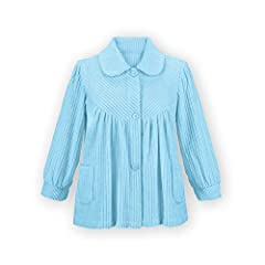 """This soft fleece bed jacket will keep you warm, comfy and cozy It features a full button front, flattering collar, patch pockets and an easy fit to wear over nightgowns and pajamas Approx 24""""L