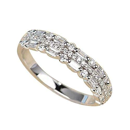 Pinhan Anillo de compromiso de diamantes artificiales de triple fila para mujer, Aleación, Plateado, 67.5mm