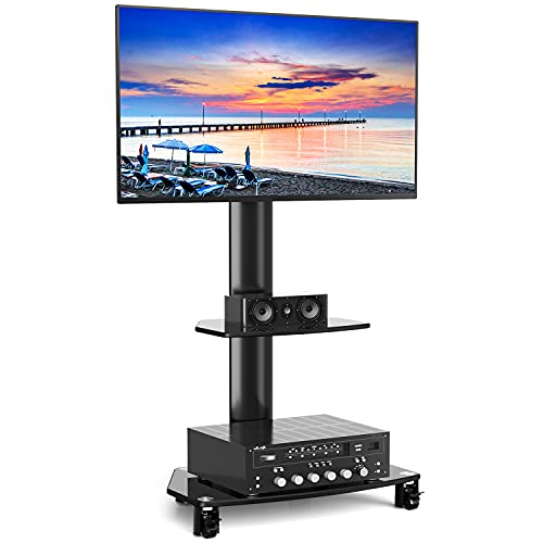 Rfiver Mobile TV Cart with Wheels & Swivel Mount Portable for 27-55 Inch LCD LED Flat Screen TVs Monitors up to 110lbs, Tall TV Floor Stand with 2-Tier Black Tempered Glass Shelves, Max VESA 400x400mm
