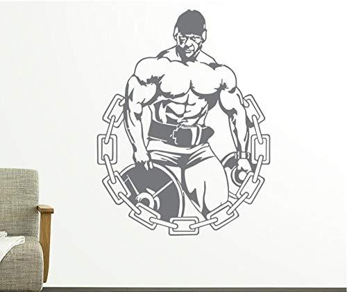 56cmx73cm Gymnase Studio Sticker Mural Fitness Homme Affiches Vinyle Stickers Muraux Pegatina Quadro Parede Décor À La Maison Murale Sports Salle De Stickers LA824