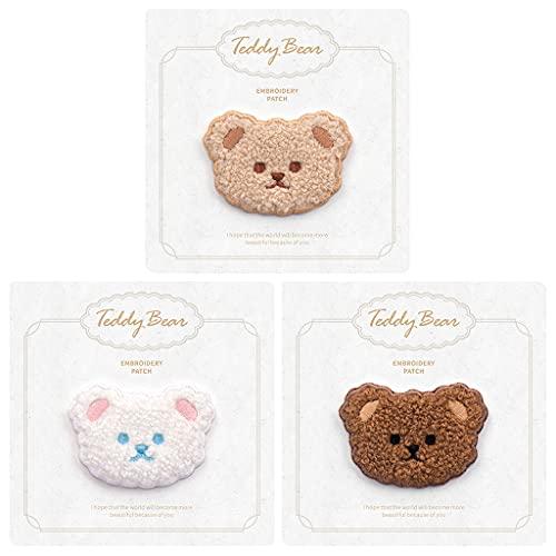Daimay Parches de animales Autoadhesivos bordados Personalizados Mochila Parches para Hombres Mujeres Niños Niñas Niños - 3PCS Bear Head