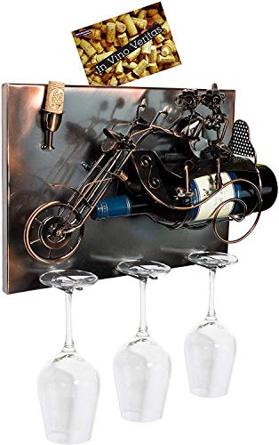 BRUBAKER Wine Bottle Holder 'Couple on Motorbike' - Wall Mountable with 3 Glass Holders - Wall Art - with Greeting Card