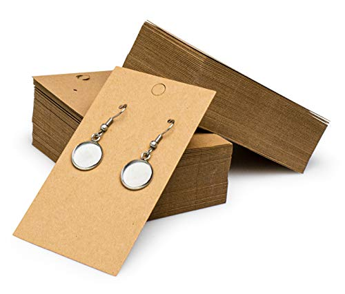 """Bastex 200 Pack Earring Cards for Jewelry Display. Earring Tags Packaging for in Store Selling, Boutique Displays and More. Measures 2"""" x 3.5"""" inch. Bulk Cardboard Holder for Hanging Earrings"""