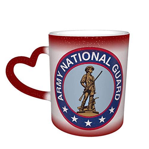 Hdadwy Taza mágica de café en forma de corazón con cambio de color de la Guardia Nacional del Ejército