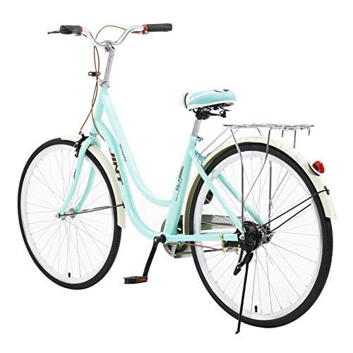 Hergoto 26 Inch Classic Ladies Bicycle Comfort Bikes Simple and Elegant Retro Bicycle Beach Cruiser Bicycle-Blue