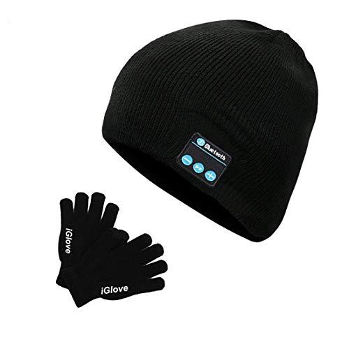 Bluetooth Mütze mit Touchscreen Handschuhe Winter Unisex Musik Beanie Hut Stereo Lautsprechern|Wiederaufladbar|Hände frei|Abnehmbar und...