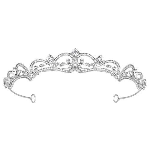 Coucoland Prinzessin Krone Hochzeit Braut Strass Diadem Vintage Kristall Königin Tiara Damen Geburtstagskrone Festzug Abschlussball Haare Accessoires (Silber)