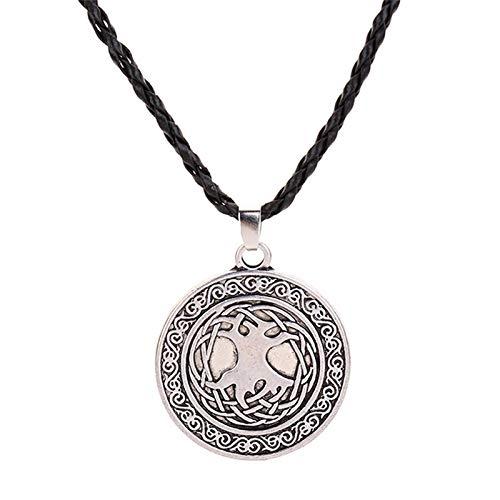 Taswuw Viking Celtic Pendant Leather Cord Eagle Head Pendant Necklace for Men, Hip Hop American Eagle Necklace Vintage Hawk Eagle Pendant