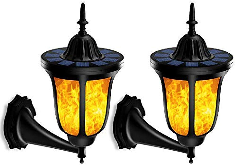 Fitbitt light Draussen Solar Wandleuchten, 96 LED Solar Wandleuchte Solar Garten Beleuchtung mit realistischen Flammen und IP65 wasserdicht für Garten, Wand, im Freien, Zaun, Patio, Yard,schwarzpackof2