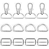 60Pcs Silver Metal Swivel Keychain Hooks with D Rings and Slide Buckle,Swivel Snaps Hooks D Rings and Slide Straps Adjuster for Key Lanyard Purse Bag Straps Dog Collars and Sewing Projects