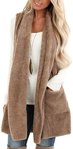 ReachMe Womens Sleeveless Sherpa Vest with Pockets Open Front Fleece Jacket Coat Cardigan Sweaters product image