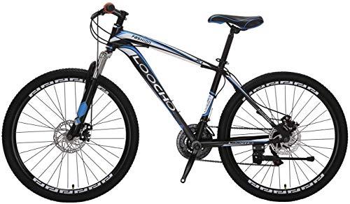 "Mountain Bike for Men & Women 21 Speed Shimano Dual Disk Brake Front Suspension Heavy Duty MTB, 18"" Frame 26"" Rim (Black&Blue)"