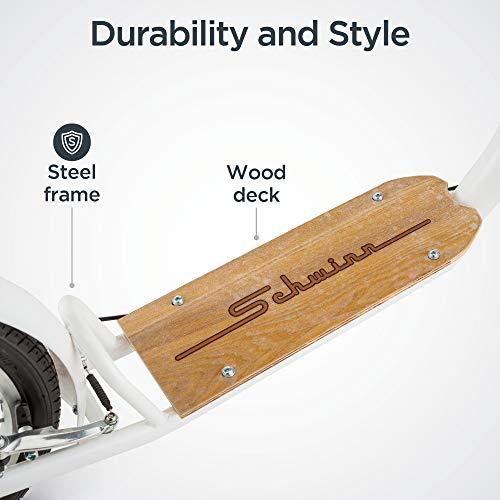 Schwinn Shuffle Adult Scooter, 26-Inch Front Wheel, 20-Inch Rear Wheel, Alloy Linear Pull Brakes, Steel Frame, White