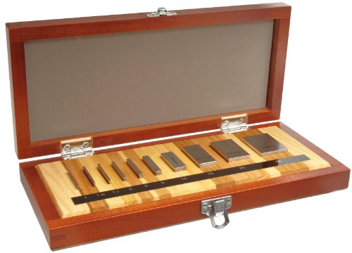 Mitutoyo 516-101-26, Steel Micrometer Inspection Gage Block Set, Metric, ASME Grade AS-1, 10 Blocks