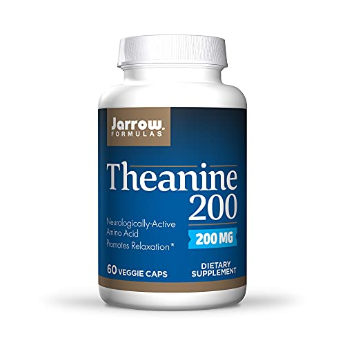 Jarrow Formulas Theanine 200 mg - 60 Veggie Caps - Neurologically Active Amino Acid - Found in Green Tea - Promotes Relaxation - 60 Servings