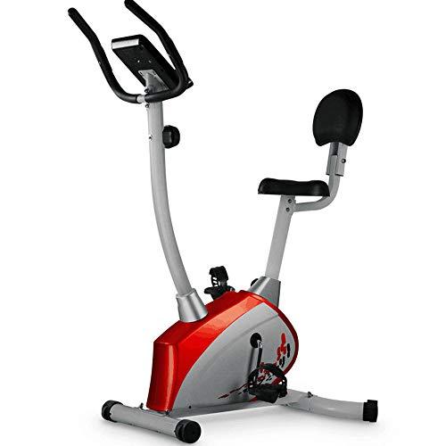 SJS Bicicleta estática, Home Gym Equipment, Cojín cómodo, Ajuste de la Resistencia, fácil de Mover, Máquinas de Ejercicios Adaptarse a Personas de Diferentes Alturas,Rojo