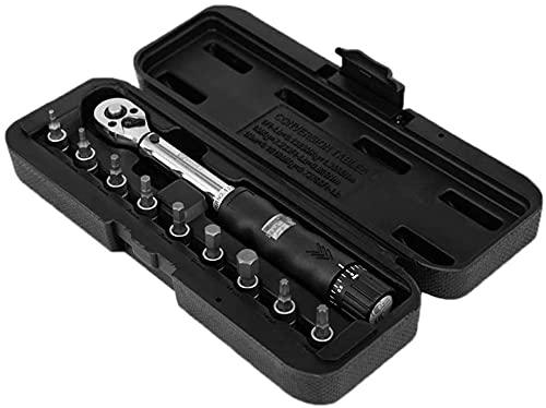 SYCK 1/4'2-14nm Drive Click Torque Wrench Hand Spanner + 9 bits de zócalo + Conjunto de Bicicletas de Bicicleta