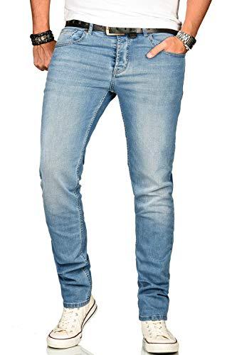 A. Salvarini Designer Herren Jeans Hose Regular Slim Fit Jeanshose Mode Stretch [AS-171-W30 L30]