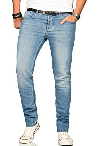A. Salvarini Designer Herren Jeans Hose Regular Slim Fit Jeanshose Mode Stretch [AS-171-W33 L34]