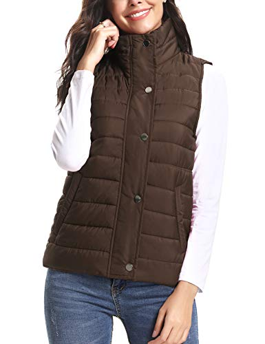 iClosam Women's Winter Puffer Vest Lightweight Packable Down Vest Quilted Jacket Coat (Coffee, Large)