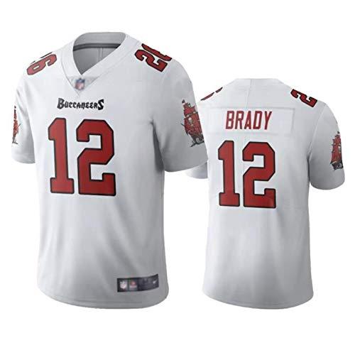 ZXYM Rugby-Trikot Tom Brady # 12 Tampa Bay Buccaneers American-Football-Trikot, Unisex Rugby-Fan-Trikot Starke Schweißaufnahme Gute Atmungsaktivität Wiederholbare Reinigung-White C-L