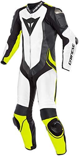 Dainese Laguna Seca 4 - Traje de motorista (1 piezas, piel perforada), color blanco, negro y amarillo
