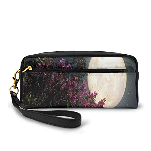 Pencil Case Pen Bag Pouch Stationary,Cherry Blossom with Stars from Milky Way Eastern Night Sky Full Moon,Small Makeup Bag Coin Purse