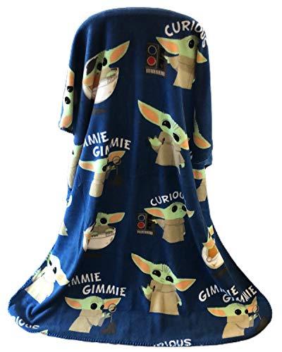 Disney Star Wars The Mandalorian The Child Baby Yoda Plush Travel Throw Blanket Blue 40x50 inch