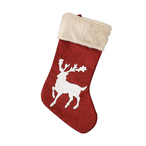 Medias navideñas de 45,9 cm, calcetines clásicos rojos y blancos, bolsa de regalo para fiestas familiares, Navidad, decoraciones de árbol de Navidad
