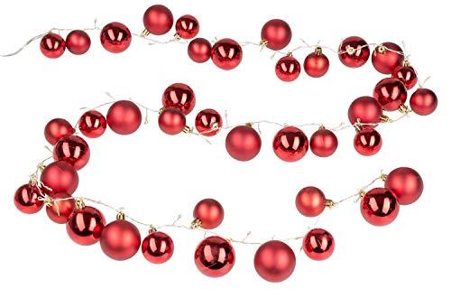 Idena slinger met 40 rode kerstballen en 80 leds in warm wit, met 8 uur timerfunctie, voor Kerstmis, decoratie, sfeerlicht, ca. 2 m, meerkleurig