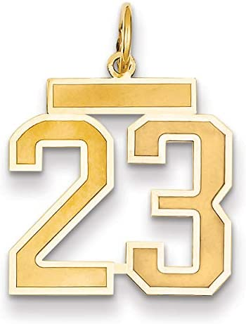 14k Over item handling Medium Satin Number 23 Charm NEW