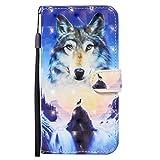 NiaCoCo Compatible con iPhone 11 Pro MAX Funda de Cuerocon Ranura para Tarjeta Billetera Patrón de en 3D Hebilla Magnética Cubierta Protectora+1 Protector de Pantalla-(Amanecer Lobo)