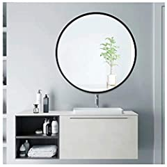 Black Circle Mirror For Wall: Mirror diameter 24 inches, with thickened black metal frame. Hang on the wall as a decorative mirror for bedroom, living room, and entryway Excellent Quality: Wall mounted mirror made of high quality floating glass with ...