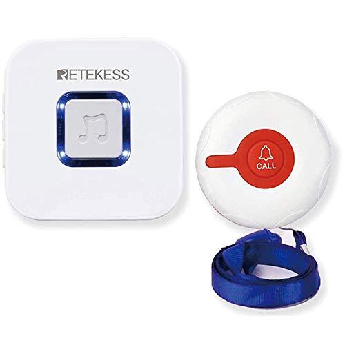Retekess TH102 Sistema Inalámbrico de Llamada de Emergencia Timbre Inalámbrico Botón de Llamada y Receptor de Timbre Regalo para Niños Ancianos Mujeres Embarazadas Hospital Familiar Hogar de Ancianos