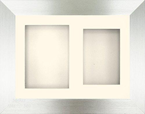 Anika-Baby 29,2 x 21,6 cm Argent brossé avec liseré Noir Cadre 3d/2 trous Passe-partout crème Crème Dos