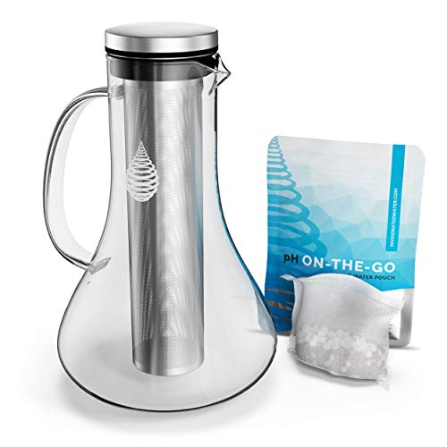 pH Replenish Glass Alkaline Water Pitcher - Long Lasting Water Filter Pitcher for Pure Drinking Water - Water Ionizer Jug for High pH Filtered Water - 1.8 L / 61 Oz