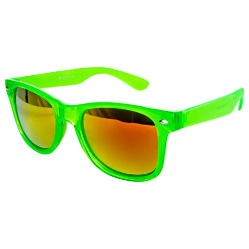 Ciffre EL-Sunprotect® Sonnenbrille Nerdbrille Brille Nerd Transparent Feuer Neon Grün UV400