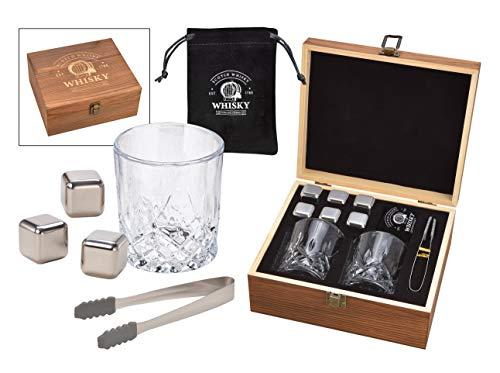 WOMA 6 Whisky Steine Edelstahl + 2 Whisky Gläser + Holzbox inkl. Zange & Samtbeutel - Edelstahl Eiswürfel wiederverwendbar, geschmacksneutral & Kühlung ohne Verwässern für Whiskey, Wodka, Gin & Mehr