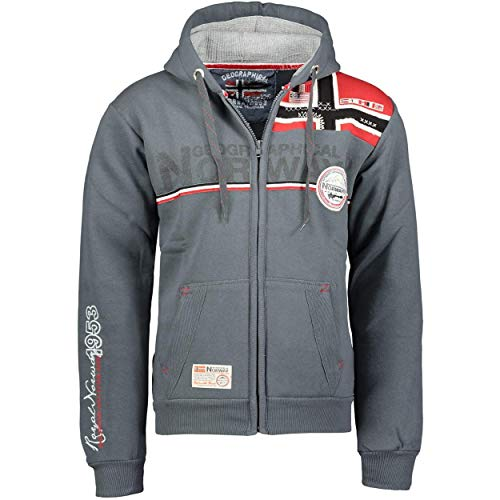 Geographical Norway FAPONIE Men - Herren Kapuzenpulli Sweat - Herren Logo Sweatshirt - Langarm Warmes Kapuzen Sweatshirt - Hoodie Pullover Passform Regular Sweater (Dunkelgrau L)