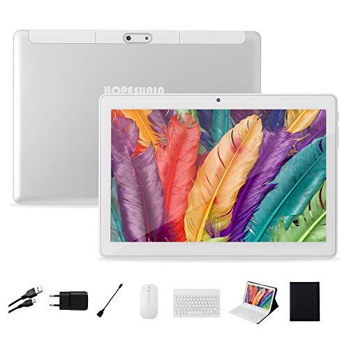 HOPESUNIN Tablet Android da 10.1 pollici con Android 9.0 ultraveloce, 4 GB di RAM, 64 GB di ROM - Certificato Google GSM, ultra sottile 8000 mAh   5 MP 8 MP   Type-C(bianco)