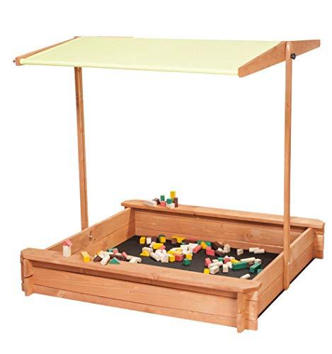 IMPWOOD Sandkasten mit verstellbarem Dach und Sitzbank Spielplatz Kinder Sandbox aus Holz (Limone)