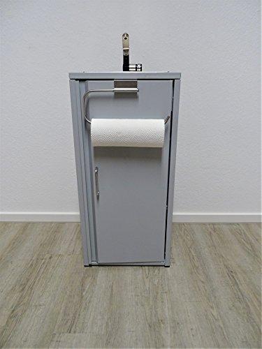 Mobiles Waschbecken Grau Inklusive Edelstahlspüle mit Küchenrollenhalter/Sofort einsatzbereit /, Tauchpumpe, Netzteil, Wasserhahn, 2 Kanister je 15 Liter Volumen für Frischwasser und Abwasser