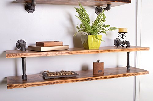"Industrial Style Wall Shelf (2 Tier) Made with Wood, Iron Water Pipes, 48""W"