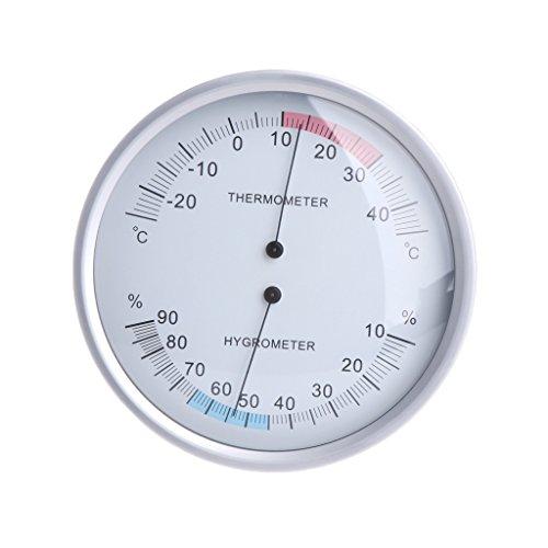 Buwei Medidor de Temperatura analógico higrómetro termómetro doméstico montado en la Pared de 5 Pulgadas