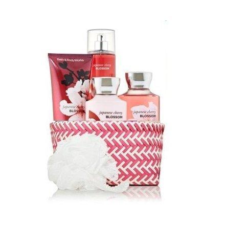"Bath & Body Works Signature Collection"" Japanese Cherry Blossom"" Fragrance Mist ~ Body Lotion ~ Shower Gel ~ Triple Moisture Body Cream & Shower Sponge Gift Set Basket"